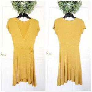 Rolla Coster Mustard Yellow Soft Wrap Dress Sz S